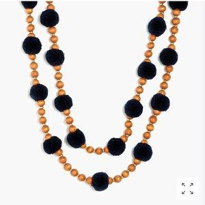 J.Crew Pom Pom and Beads Layered Necklace Navy